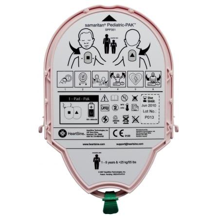 Défibrillateur Heartsine piles et électrodes pédiatriques