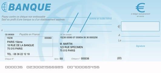 Règlement par chèque accepté