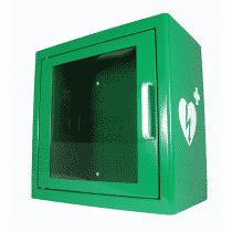 Armoire verte en métal pour défibrillateur