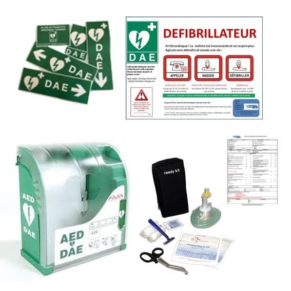 Pack défibrillateur avec armoire Aivia 100 et accessoires