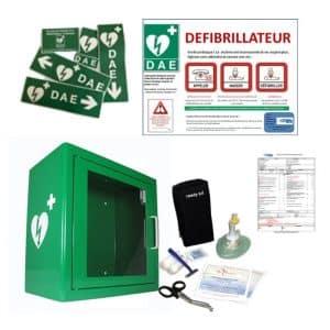 Pack défibrillateur avec armoire en métal et accessoires