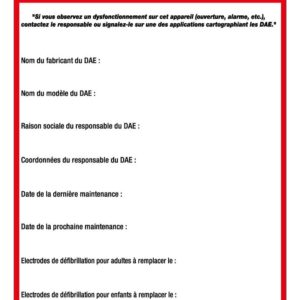 Etiquette maintenance défibrillateur